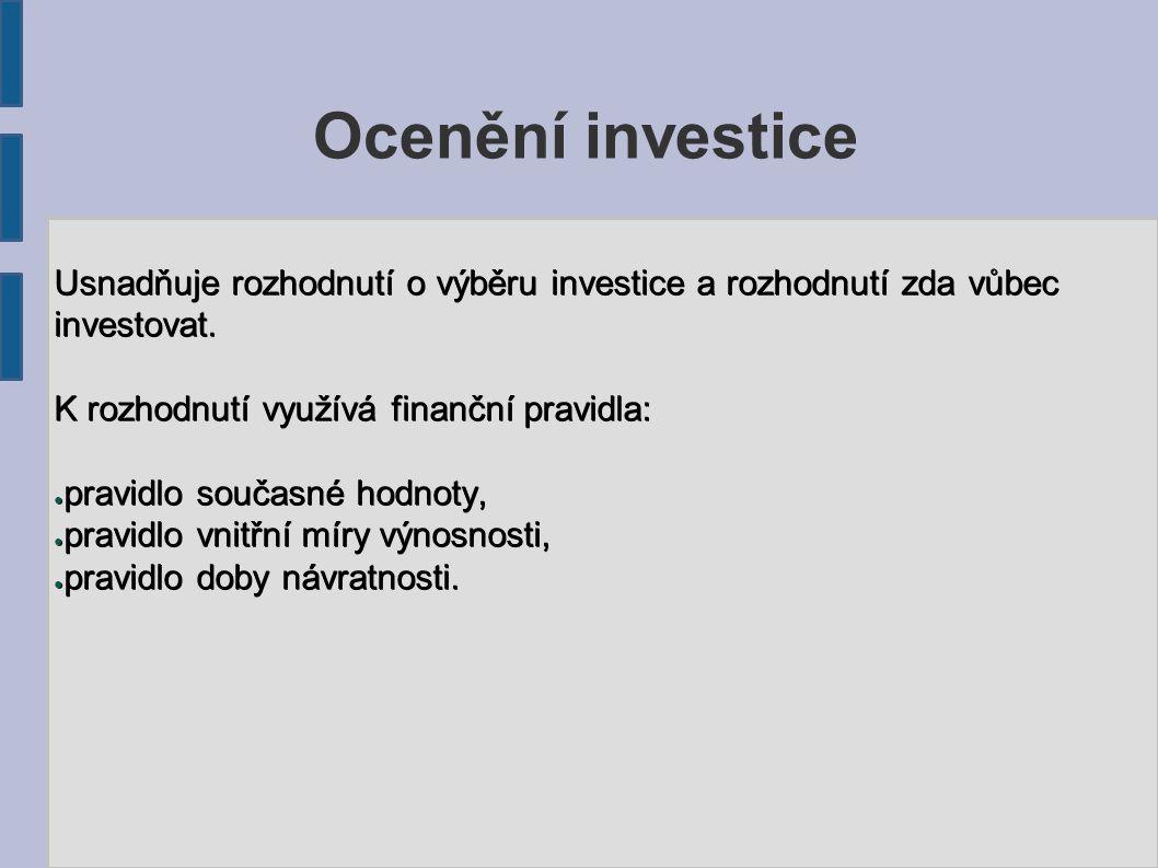 Hodnota všech peněžních toků se vztahuje k referenčnímu datu, které leží před všemi platbami (platby se diskontují).