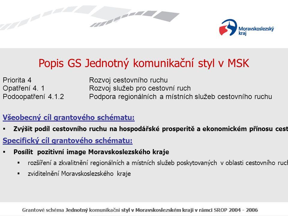 Grantové schéma Jednotný komunikační styl v Moravskoslezském kraji v rámci SROP 2004 - 2006 Výstupy podpořených akcí GS JKS v regionu Moravskoslezsko přispívají ke:  Zkvalitnění a rozšíření nabídky pro návštěvníky regionu  Zlepšení informovanosti o přírodních a kulturních zajímavostech  Zvýšení účinnosti a kvality regionálního marketingu a zvýšení dostupnosti informací