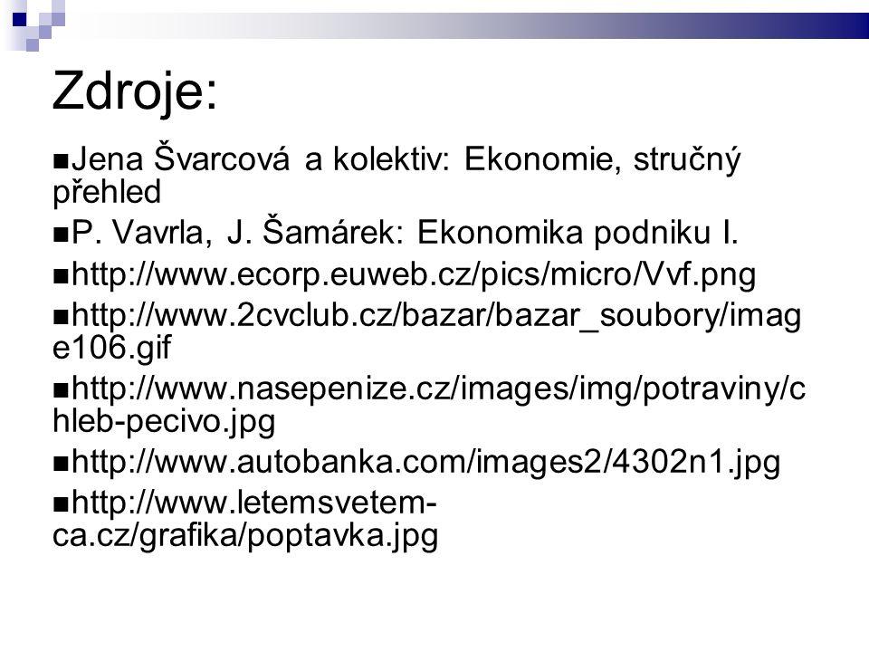 Zdroje: Jena Švarcová a kolektiv: Ekonomie, stručný přehled P.