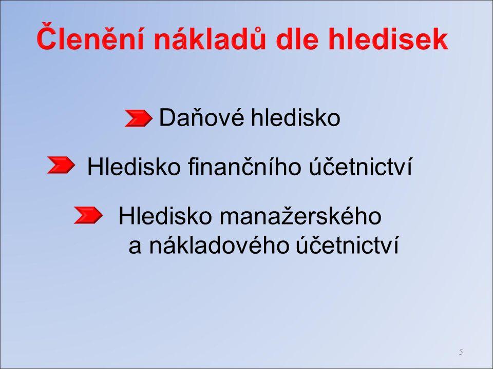 Daňové hledisko Hledisko finančního účetnictví Hledisko manažerského a nákladového účetnictví 5