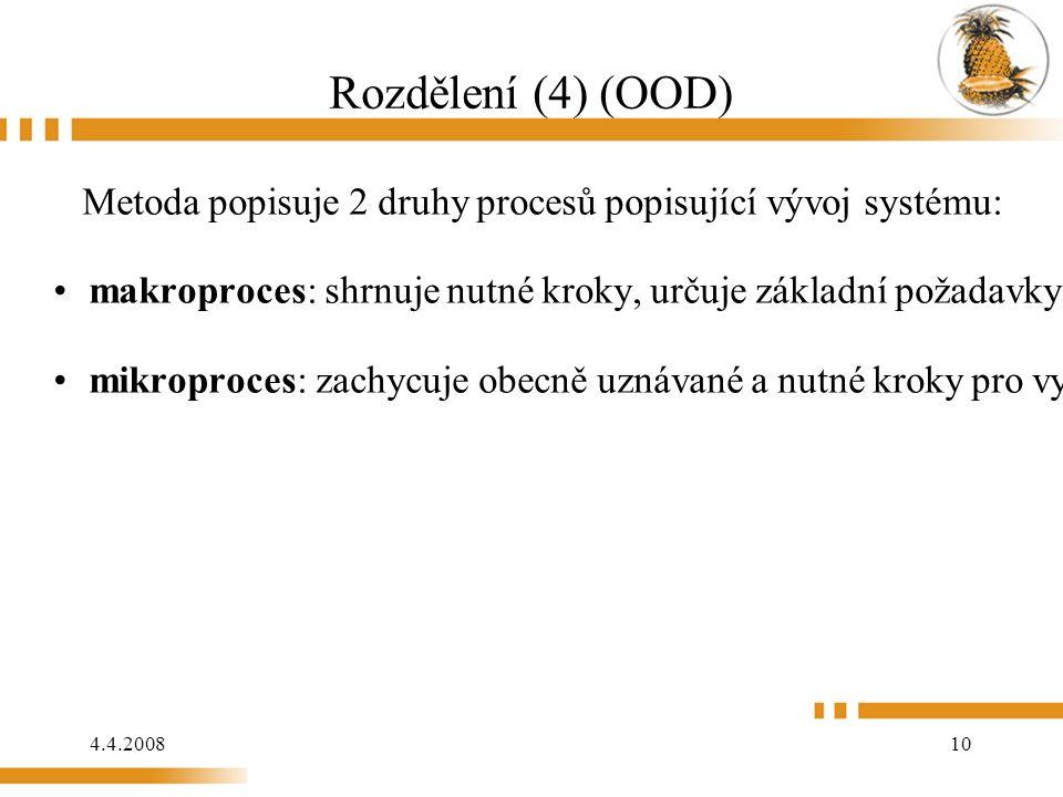 4.4.2008 10 Rozdělení (4) (OOD) Metoda popisuje 2 druhy procesů popisující vývoj systému: makroproces: shrnuje nutné kroky, určuje základní požadavky