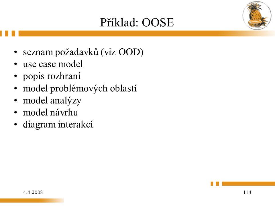 4.4.2008 114 Příklad: OOSE seznam požadavků (viz OOD) use case model popis rozhraní model problémových oblastí model analýzy model návrhu diagram int