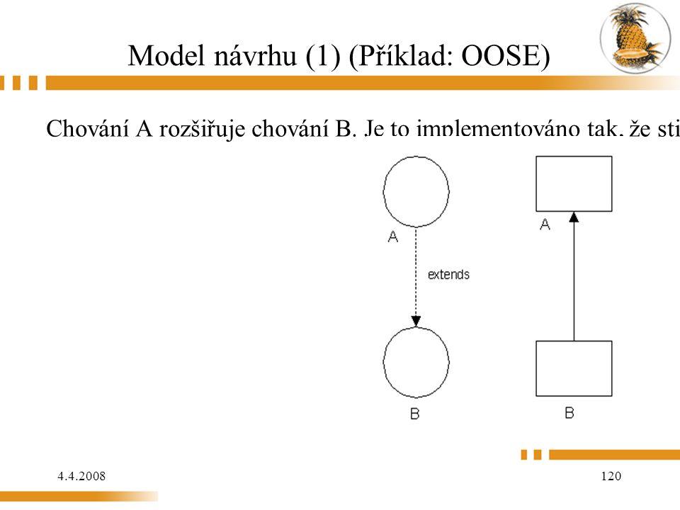 4.4.2008 120 Model návrhu (1) (Příklad: OOSE) Chování A rozšiřuje chování B. Je to implementováno tak, že stimul je posílán od B k A.