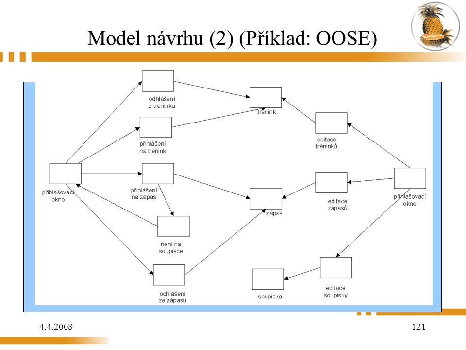 4.4.2008 121 Model návrhu (2) (Příklad: OOSE)