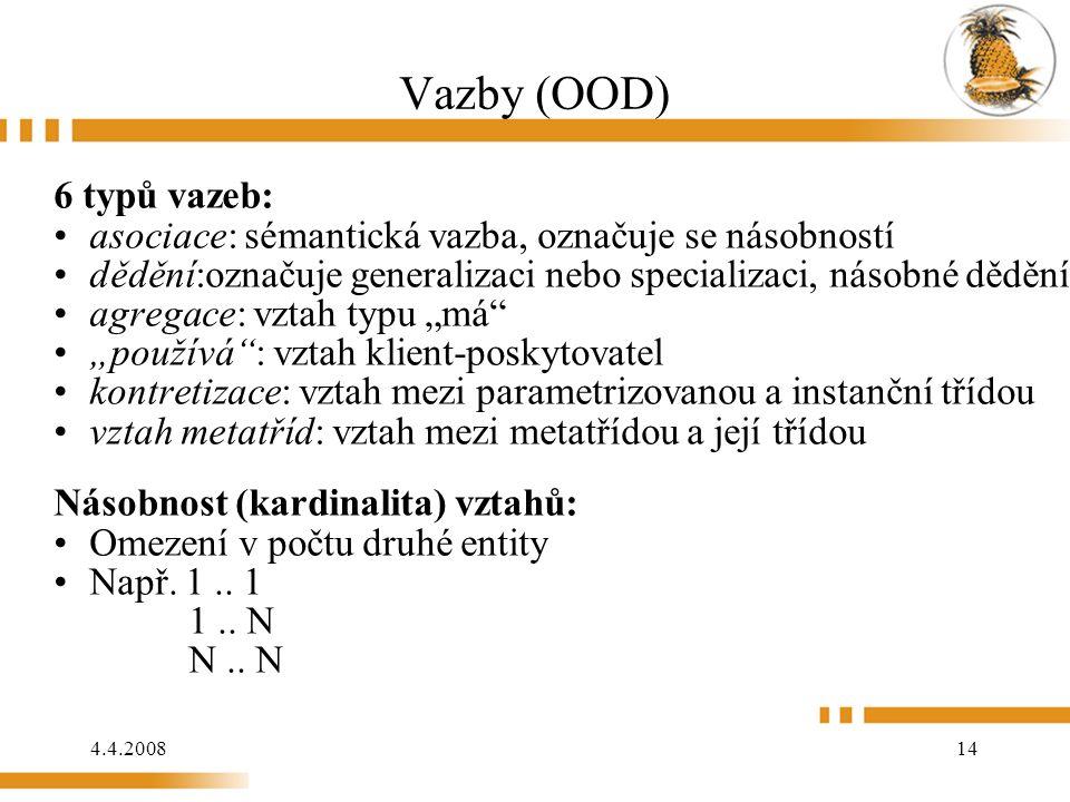 """4.4.2008 14 Vazby (OOD) 6 typů vazeb: asociace: sémantická vazba, označuje se násobností dědění:označuje generalizaci nebo specializaci, násobné dědění, neobsahuje násobnost agregace: vztah typu """"má """"používá : vztah klient-poskytovatel kontretizace: vztah mezi parametrizovanou a instanční třídou vztah metatříd: vztah mezi metatřídou a její třídou Násobnost (kardinalita) vztahů: Omezení v počtu druhé entity Např."""