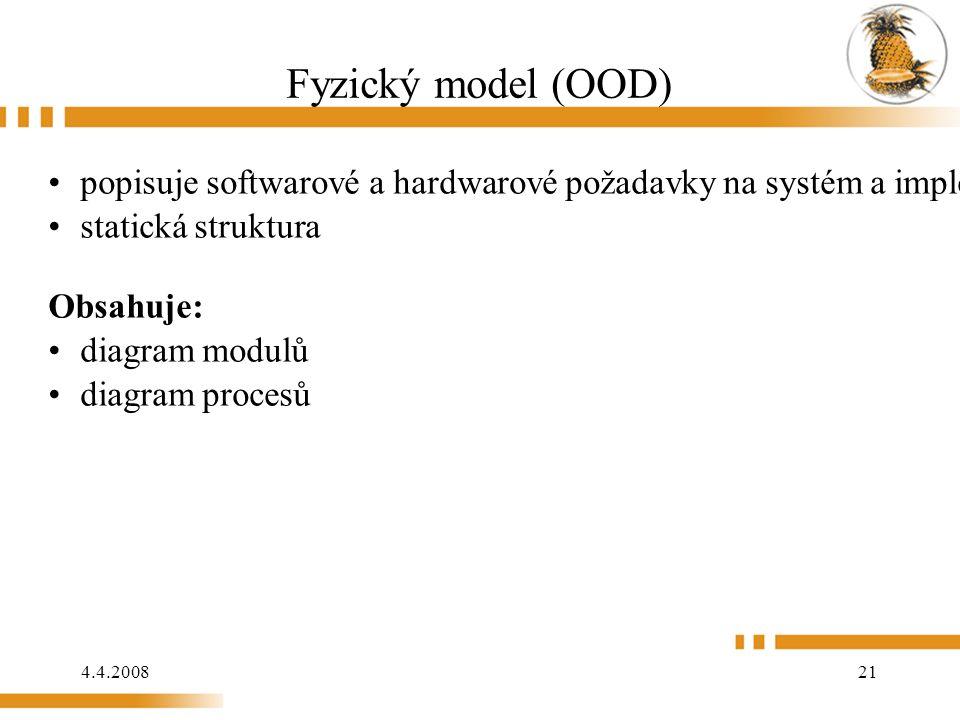 4.4.2008 21 Fyzický model (OOD) popisuje softwarové a hardwarové požadavky na systém a implementaci statická struktura Obsahuje: diagram modulů diagram procesů