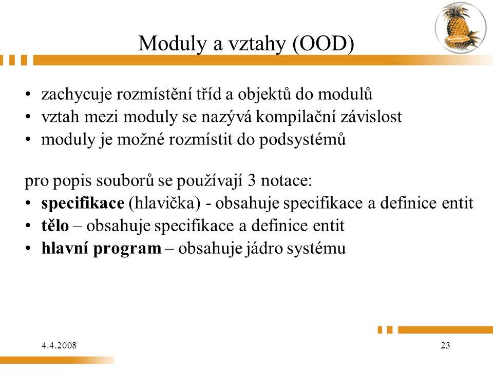 4.4.2008 23 Moduly a vztahy (OOD) zachycuje rozmístění tříd a objektů do modulů vztah mezi moduly se nazývá kompilační závislost moduly je možné rozmístit do podsystémů pro popis souborů se používají 3 notace: specifikace (hlavička) - obsahuje specifikace a definice entit tělo – obsahuje specifikace a definice entit hlavní program – obsahuje jádro systému