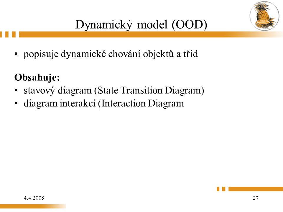 4.4.2008 27 Dynamický model (OOD) popisuje dynamické chování objektů a tříd Obsahuje: stavový diagram (State Transition Diagram) diagram interakcí (Interaction Diagram