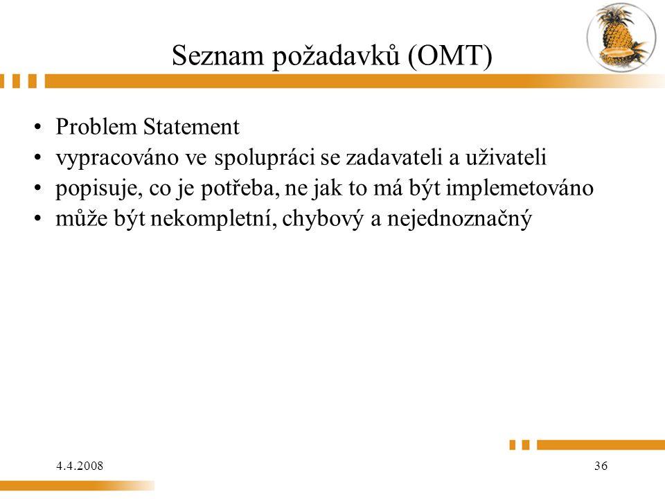 4.4.2008 36 Seznam požadavků (OMT) Problem Statement vypracováno ve spolupráci se zadavateli a uživateli popisuje, co je potřeba, ne jak to má být im