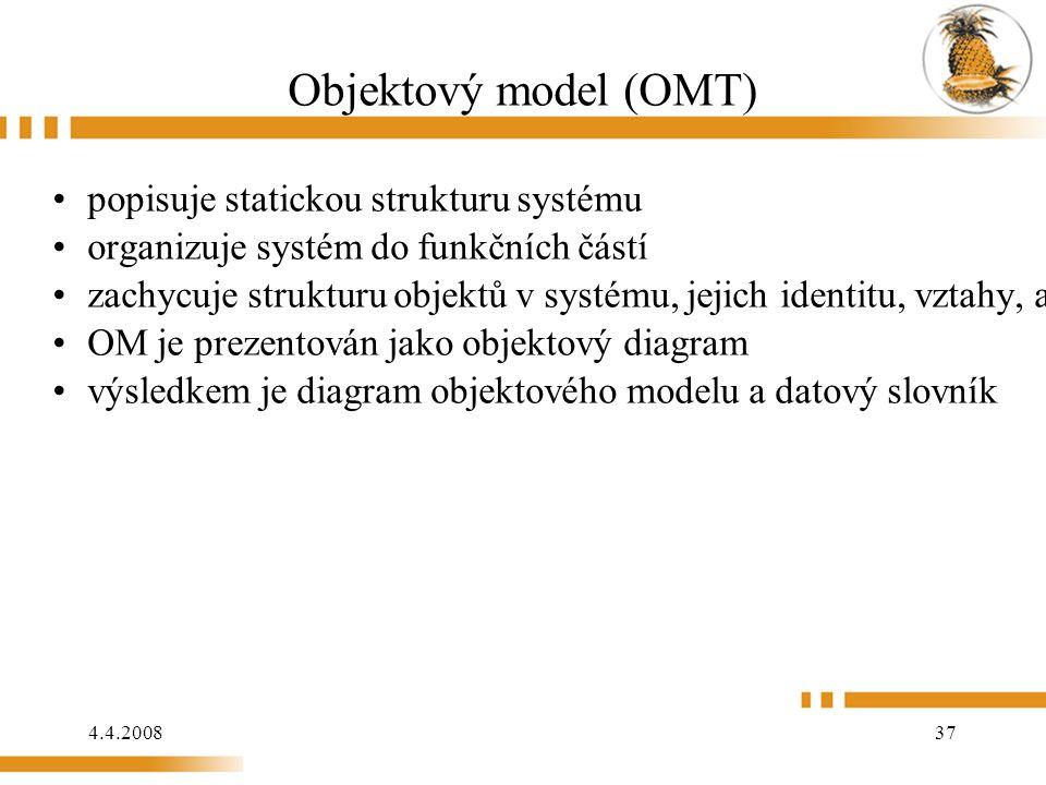 4.4.2008 37 Objektový model (OMT) popisuje statickou strukturu systému organizuje systém do funkčních částí zachycuje strukturu objektů v systému, jejich identitu, vztahy, atributy a metody OM je prezentován jako objektový diagram výsledkem je diagram objektového modelu a datový slovník