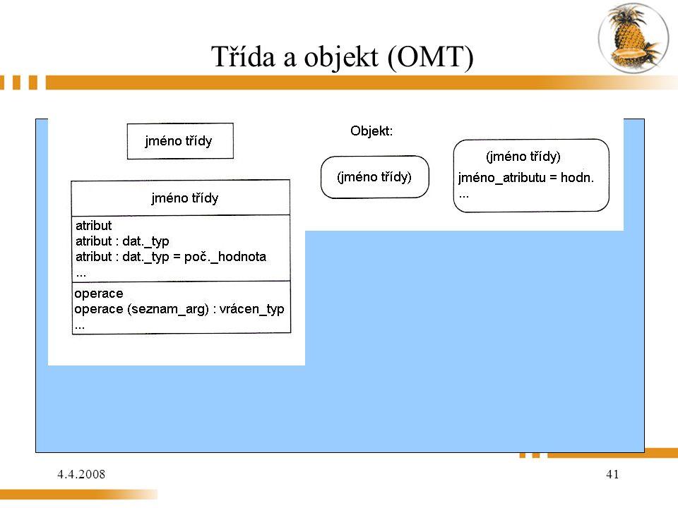 4.4.2008 41 Třída a objekt (OMT)
