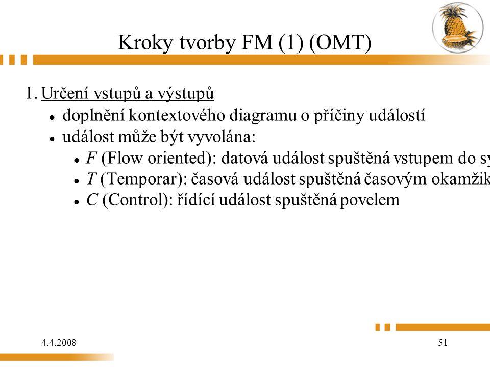 4.4.2008 51 Kroky tvorby FM (1) (OMT) 1.Určení vstupů a výstupů doplnění kontextového diagramu o příčiny událostí událost může být vyvolána: F (Flow oriented): datová událost spuštěná vstupem do systému T (Temporar): časová událost spuštěná časovým okamžikem C (Control): řídící událost spuštěná povelem