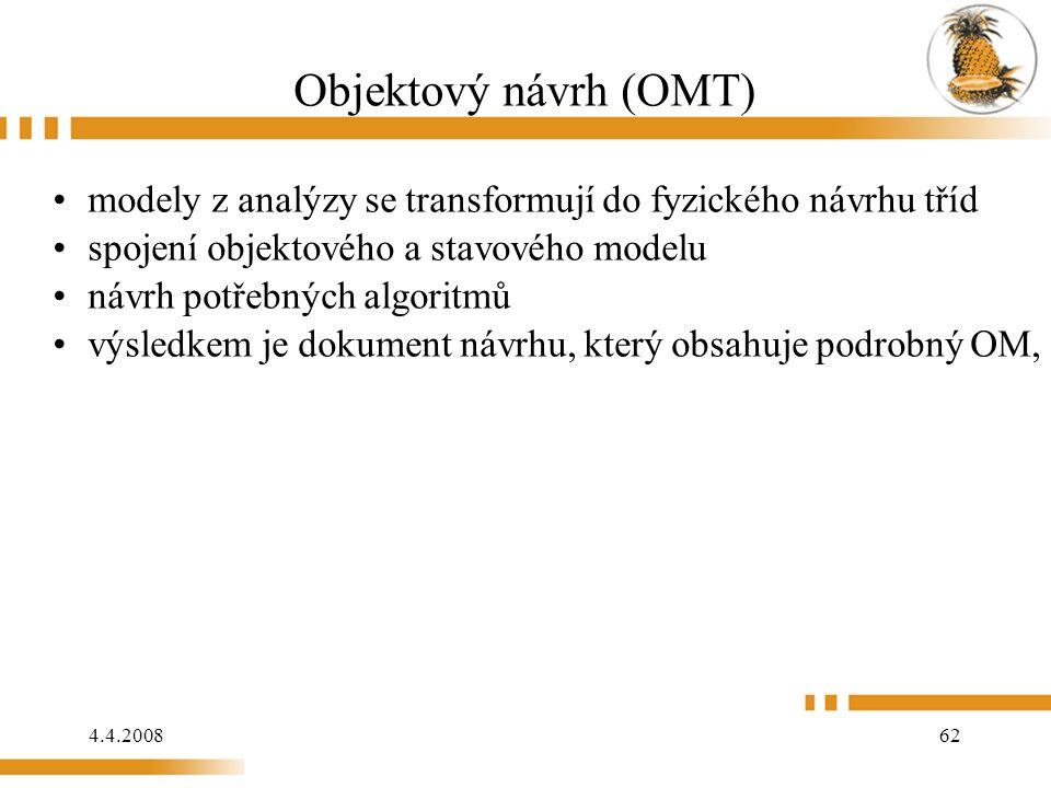 4.4.2008 62 Objektový návrh (OMT) modely z analýzy se transformují do fyzického návrhu tříd spojení objektového a stavového modelu návrh potřebných algoritmů výsledkem je dokument návrhu, který obsahuje podrobný OM, podrobný FM a podrobný DM