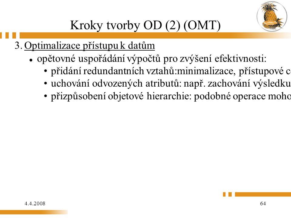 4.4.2008 64 Kroky tvorby OD (2) (OMT) 3.Optimalizace přístupu k datům opětovné uspořádání výpočtů pro zvýšení efektivnosti: přidání redundantních vztahů:minimalizace, přístupové ceny a maximálního pohodlí uchování odvozených atributů: např.
