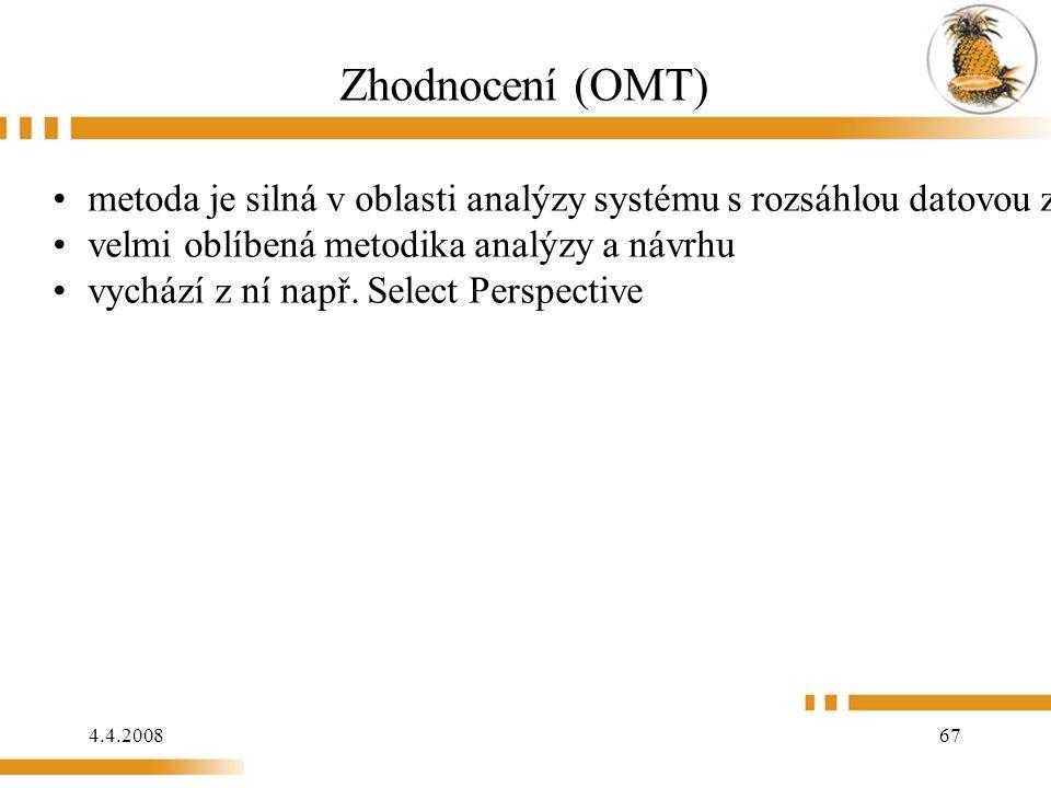 4.4.2008 67 Zhodnocení (OMT) metoda je silná v oblasti analýzy systému s rozsáhlou datovou základnou velmi oblíbená metodika analýzy a návrhu vychází