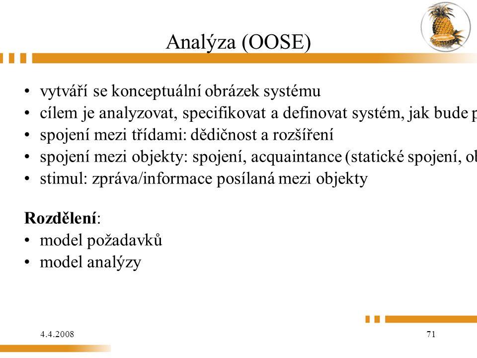 4.4.2008 71 Analýza (OOSE) vytváří se konceptuální obrázek systému cílem je analyzovat, specifikovat a definovat systém, jak bude postaven spojení mezi třídami: dědičnost a rozšíření spojení mezi objekty: spojení, acquaintance (statické spojení, objekty si nemohou měnit informace), agregace a komunikační spojení (přijímá a vysílá stimuli) stimul: zpráva/informace posílaná mezi objekty Rozdělení: model požadavků model analýzy