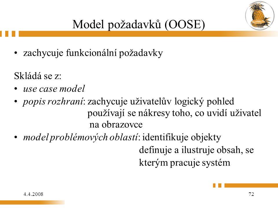 4.4.2008 72 Model požadavků (OOSE) zachycuje funkcionální požadavky Skládá se z: use case model popis rozhraní: zachycuje uživatelův logický pohled používají se nákresy toho, co uvidí uživatel na obrazovce model problémových oblastí: identifikuje objekty definuje a ilustruje obsah, se kterým pracuje systém