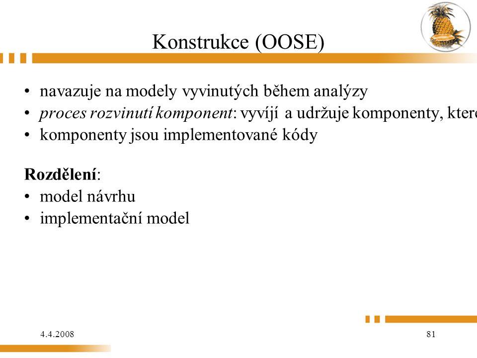 4.4.2008 81 Konstrukce (OOSE) navazuje na modely vyvinutých během analýzy proces rozvinutí komponent: vyvíjí a udržuje komponenty, které se požívají během konstrukce komponenty jsou implementované kódy Rozdělení: model návrhu implementační model