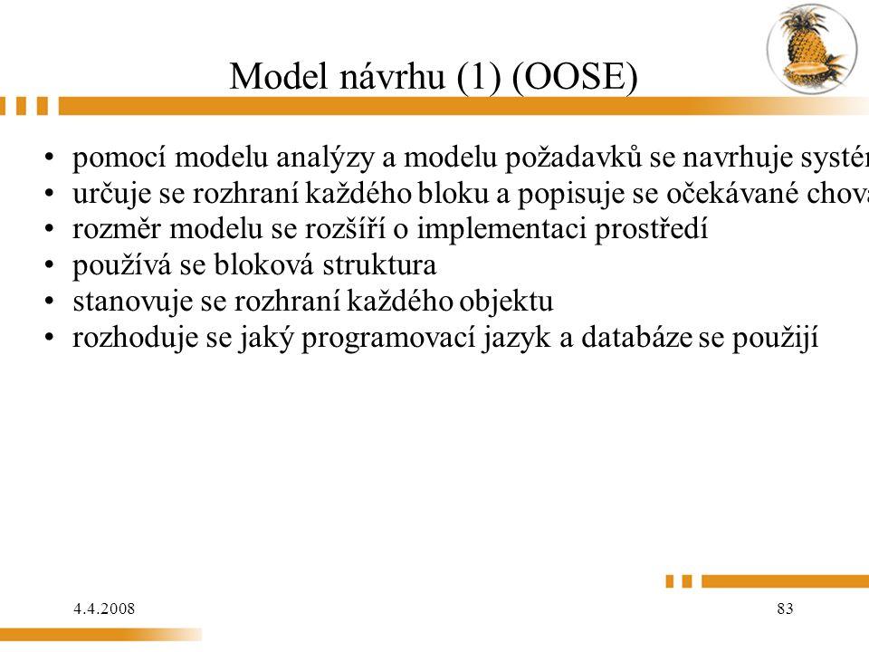 4.4.2008 83 Model návrhu (1) (OOSE) pomocí modelu analýzy a modelu požadavků se navrhuje systém určuje se rozhraní každého bloku a popisuje se očekáv