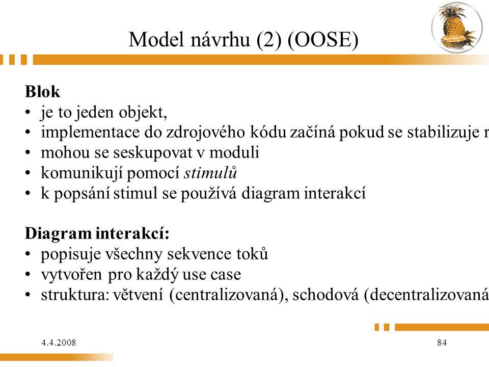4.4.2008 84 Model návrhu (2) (OOSE) Blok je to jeden objekt, implementace do zdrojového kódu začíná pokud se stabilizuje rozhraní bloku mohou se sesk