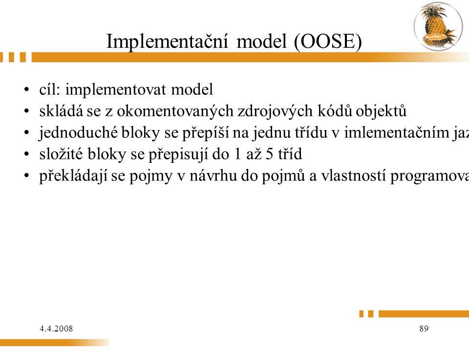 4.4.2008 89 Implementační model (OOSE) cíl: implementovat model skládá se z okomentovaných zdrojových kódů objektů jednoduché bloky se přepíší na jednu třídu v imlementačním jazyce složité bloky se přepisují do 1 až 5 tříd překládají se pojmy v návrhu do pojmů a vlastností programovacího jazyka