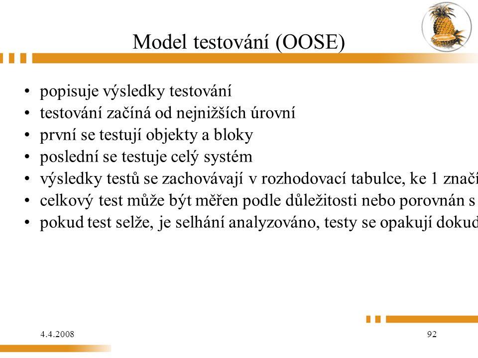 4.4.2008 92 Model testování (OOSE) popisuje výsledky testování testování začíná od nejnižších úrovní první se testují objekty a bloky poslední se testuje celý systém výsledky testů se zachovávají v rozhodovací tabulce, ke 1 značí uspěl a 0 neuspěl celkový test může být měřen podle důležitosti nebo porovnán s limit (pokud výsledky převýší limit, pak test prošel) pokud test selže, je selhání analyzováno, testy se opakují dokud systém neprojde
