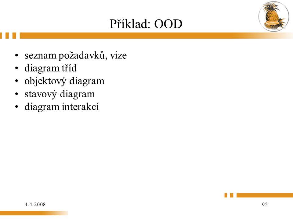 4.4.2008 95 Příklad: OOD seznam požadavků, vize diagram tříd objektový diagram stavový diagram diagram interakcí