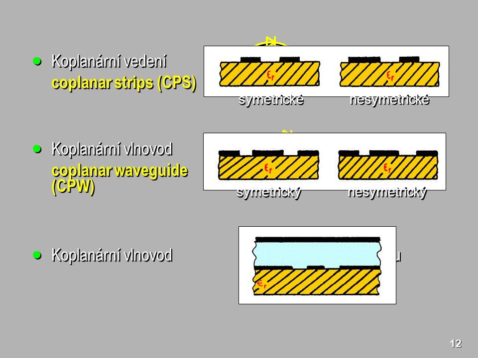 12  Koplanární vedení coplanar strips (CPS)  Koplanární vedení coplanar strips (CPS) symetrickésymetrické nesymetrickénesymetrické  Koplanární vlnovod coplanar waveguide (CPW)  Koplanární vlnovod coplanar waveguide (CPW) symetrickýsymetrický nesymetrickýnesymetrický  Koplanární vlnovod s horní stínicí deskou