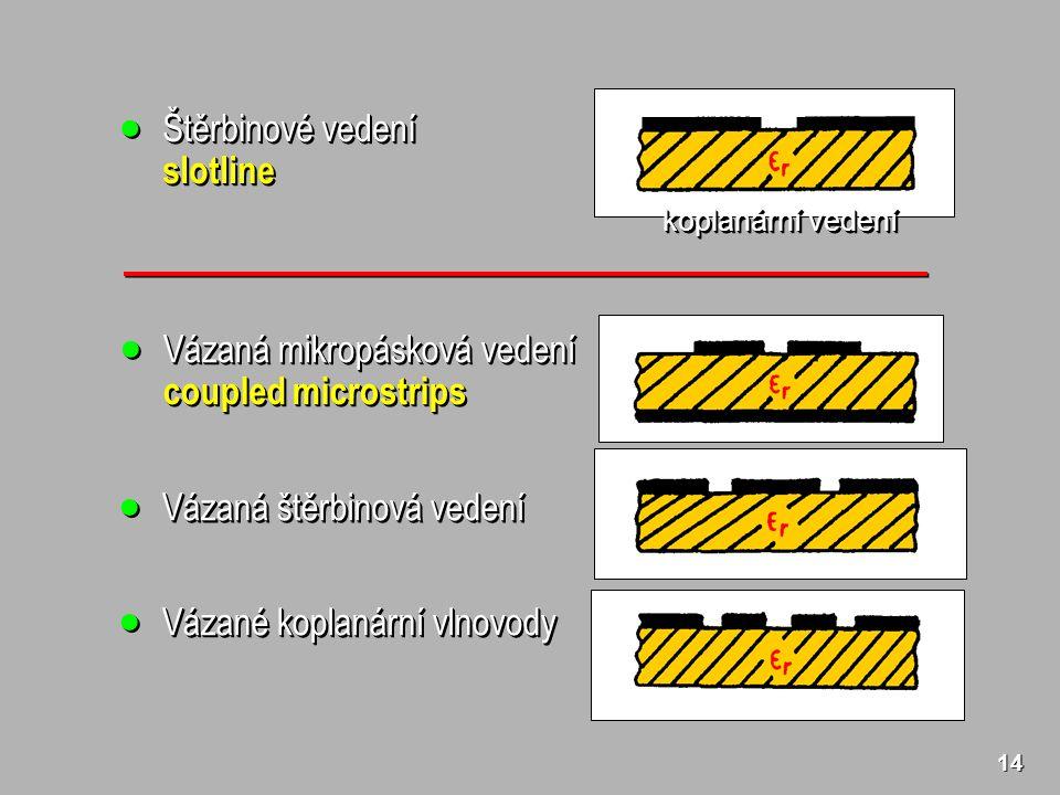 14  Štěrbinové vedení slotline slotline koplanární vedení  Vázaná mikropásková vedení coupled microstrips  Vázaná mikropásková vedení coupled microstrips  Vázaná štěrbinová vedení  Vázané koplanární vlnovody