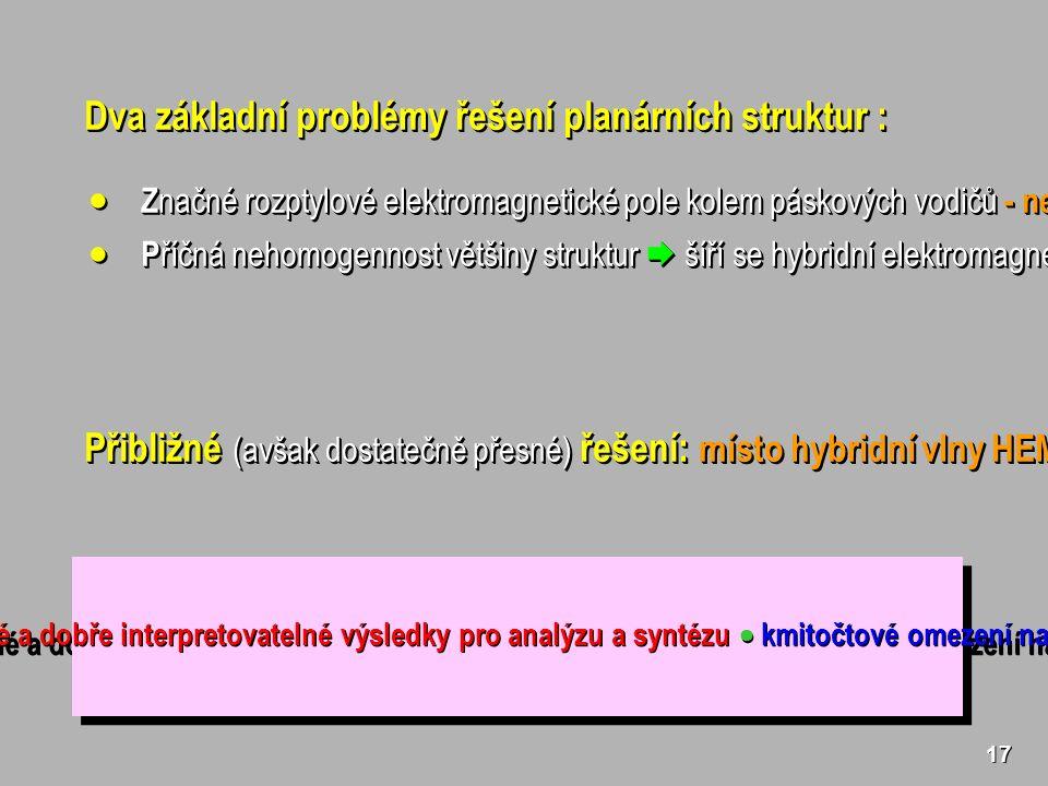 17 Dva základní problémy řešení planárních struktur :  Z načné rozptylové elektromagnetické pole kolem páskových vodičů - nelze zanedbat.
