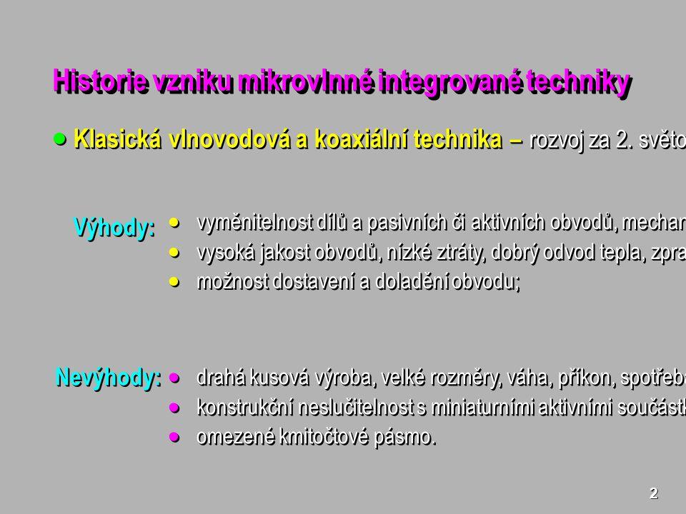 2 Historie vzniku mikrovlnné integrované techniky  Klasická vlnovodová a koaxiální technika – rozvoj za 2.