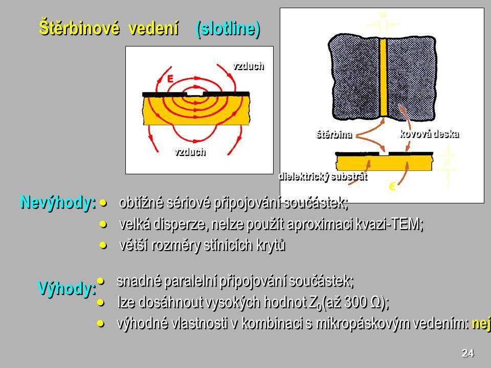 24 Štěrbinové vedení (slotline) dielektrický substrát štěrbinaštěrbina kovová deska vzduchvzduch vzduchvzduch  snadné paralelní připojování součástek;  lze dosáhnout vysokých hodnot Z 0 (až 300 Ω);  výhodné vlastnosti v kombinaci s mikropáskovým vedením: nejčastější použití  snadné paralelní připojování součástek;  lze dosáhnout vysokých hodnot Z 0 (až 300 Ω);  výhodné vlastnosti v kombinaci s mikropáskovým vedením: nejčastější použití Výhody:Výhody: Nevýhody:Nevýhody:  obtížné sériové připojování součástek;  velká disperze, nelze použít aproximaci kvazi-TEM;  větší rozměry stínicích krytů  obtížné sériové připojování součástek;  velká disperze, nelze použít aproximaci kvazi-TEM;  větší rozměry stínicích krytů