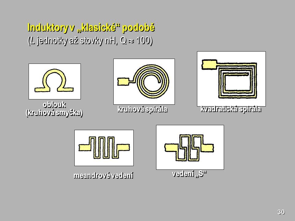 """30 Induktory v """"klasické podobě ( L jednotky až stovky nH, Q  100) Induktory v """"klasické podobě ( L jednotky až stovky nH, Q  100) kruhová spirála meandrové vedení kvadratická spirála vedení """"S oblouk (kruhová smyčka) oblouk"""