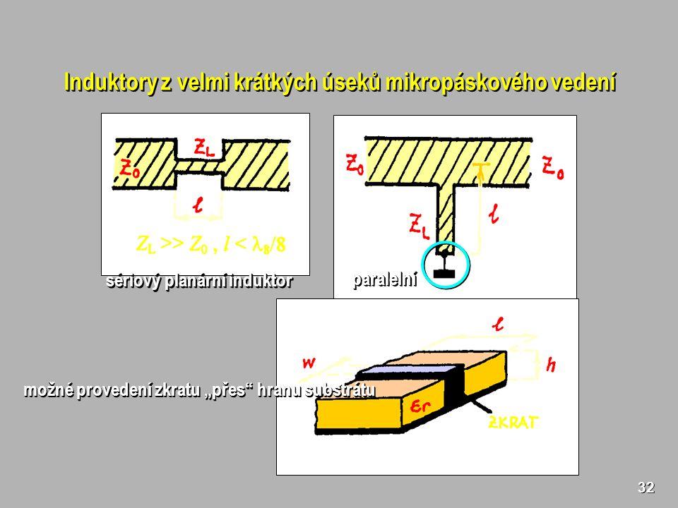 """32 Induktory z velmi krátkých úseků mikropáskového vedení sériový planární induktor paralelníparalelní možné provedení zkratu """"přes hranu substrátu"""