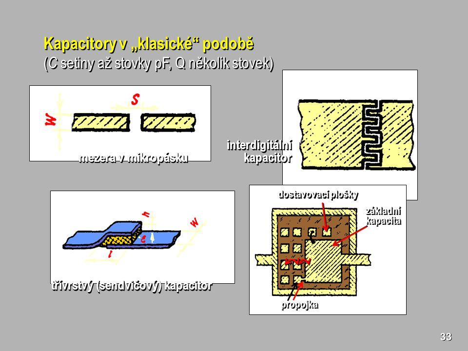 """33 Kapacitory v """"klasické podobě ( C setiny až stovky pF, Q několik stovek) Kapacitory v """"klasické podobě ( C setiny až stovky pF, Q několik stovek) mezera v mikropásku interdigitálníkapacitorinterdigitálníkapacitor třívrstvý (sendvičový) kapacitor dostavovací plošky základníkapacitazákladníkapacita propojkapropojka"""