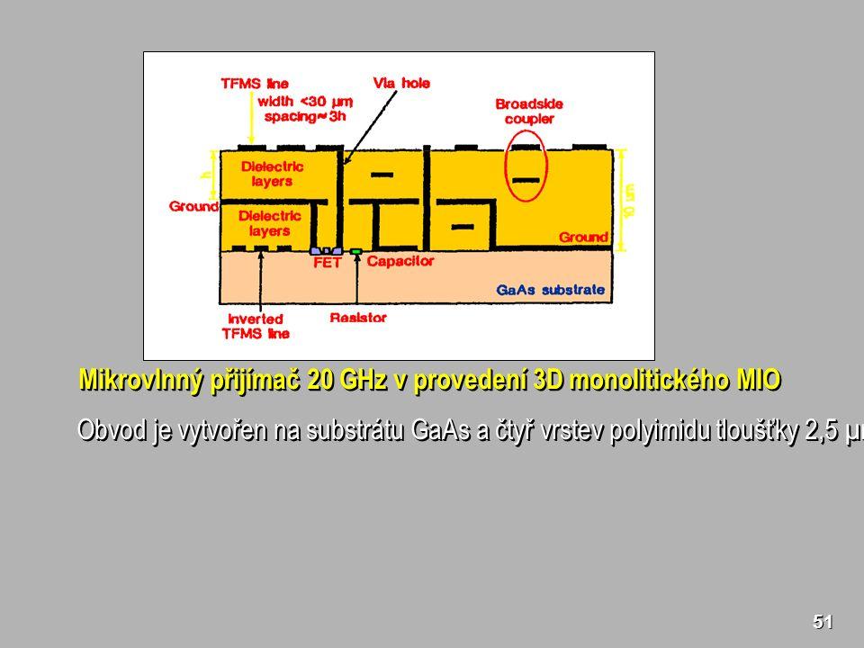 Mikrovlnný přijímač 20 GHz v provedení 3D monolitického MIO Obvod je vytvořen na substrátu GaAs a čtyř vrstev polyimidu tloušťky 2,5 µm.