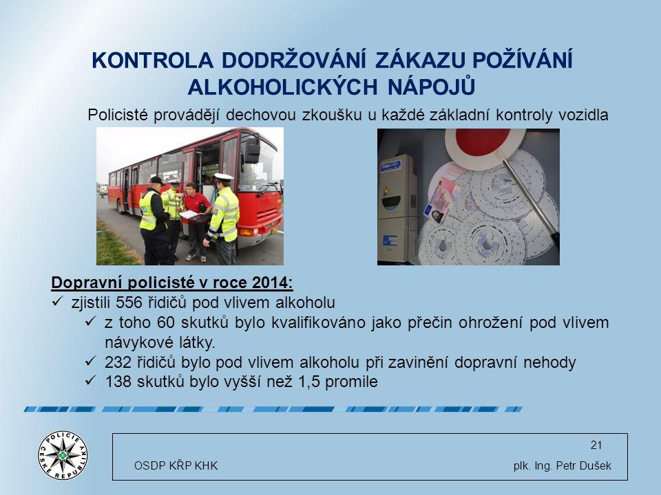 21 OSDP KŘP KHK plk. Ing. Petr Dušek Dopravní policisté v roce 2014: zjistili 556 řidičů pod vlivem alkoholu z toho 60 skutků bylo kvalifikováno jako
