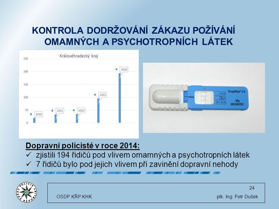24 KONTROLA DODRŽOVÁNÍ ZÁKAZU POŽÍVÁNÍ OMAMNÝCH A PSYCHOTROPNÍCH LÁTEK OSDP KŘP KHK plk.