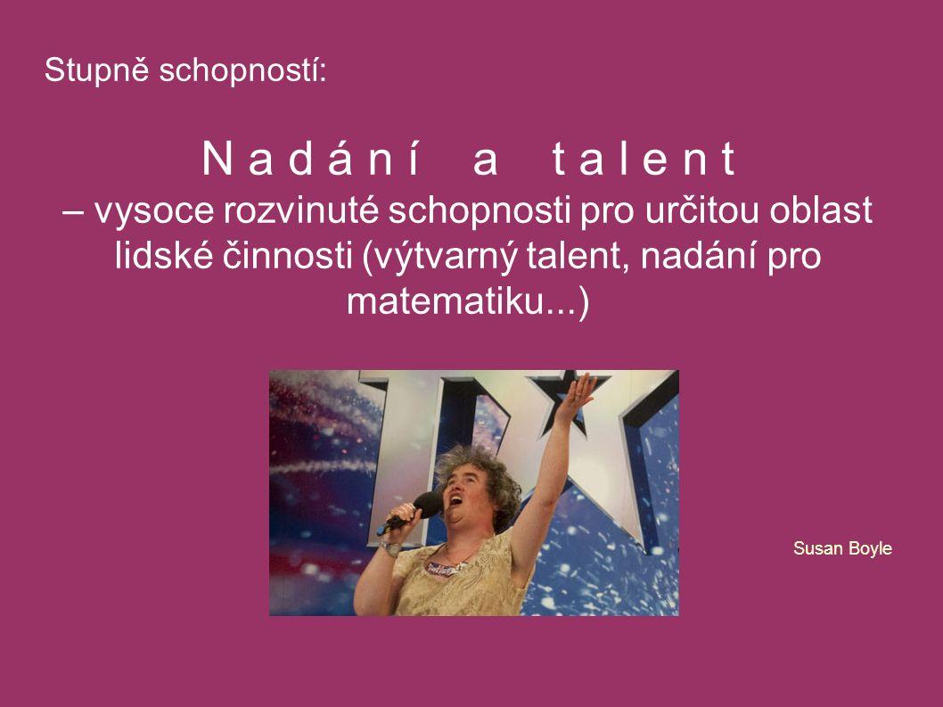 Stupně schopností: N a d á n í a t a l e n t – vysoce rozvinuté schopnosti pro určitou oblast lidské činnosti (výtvarný talent, nadání pro matematiku...) Susan Boyle