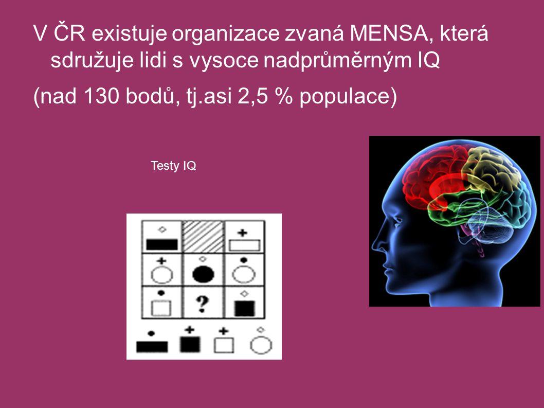 V ČR existuje organizace zvaná MENSA, která sdružuje lidi s vysoce nadprůměrným IQ (nad 130 bodů, tj.asi 2,5 % populace) Testy IQ
