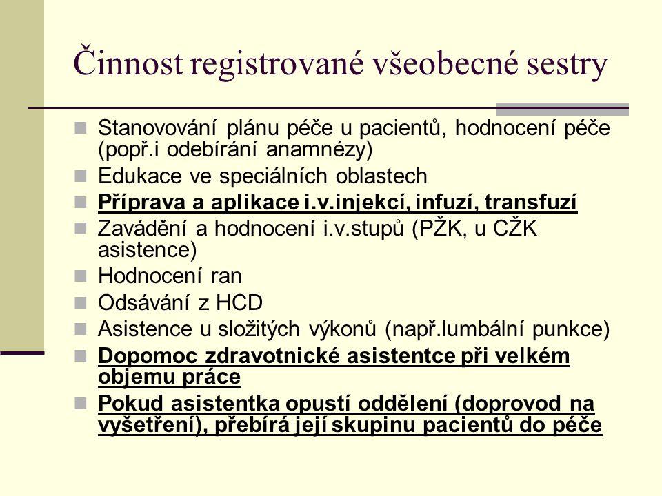 Činnost registrované všeobecné sestry Stanovování plánu péče u pacientů, hodnocení péče (popř.i odebírání anamnézy) Edukace ve speciálních oblastech Příprava a aplikace i.v.injekcí, infuzí, transfuzí Zavádění a hodnocení i.v.stupů (PŽK, u CŽK asistence) Hodnocení ran Odsávání z HCD Asistence u složitých výkonů (např.lumbální punkce) Dopomoc zdravotnické asistentce při velkém objemu práce Pokud asistentka opustí oddělení (doprovod na vyšetření), přebírá její skupinu pacientů do péče