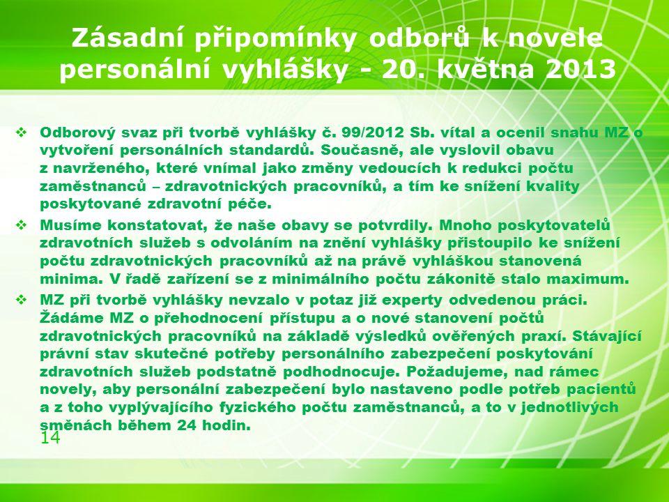 14 Zásadní připomínky odborů k novele personální vyhlášky - 20.