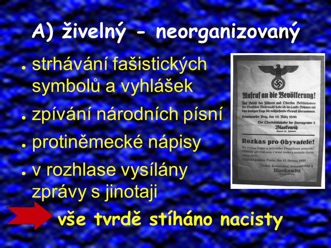A) živelný - neorganizovaný ● strhávání fašistických symbolů a vyhlášek ● zpívání národních písní ● protiněmecké nápisy ● v rozhlase vysílány zprávy s jinotaji ● vše tvrdě stíháno nacisty