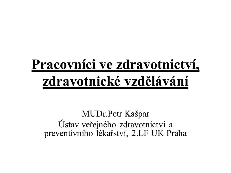 Pracovníci ve zdravotnictví, zdravotnické vzdělávání MUDr.Petr Kašpar Ústav veřejného zdravotnictví a preventivního lékařství, 2.LF UK Praha