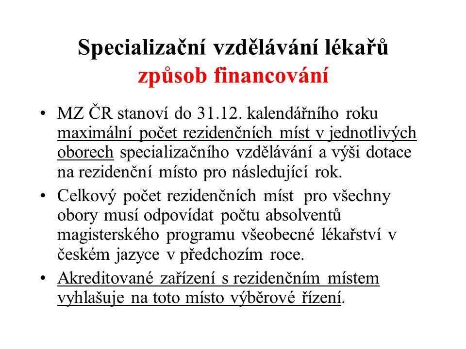 Specializační vzdělávání lékařů způsob financování MZ ČR stanoví do 31.12. kalendářního roku maximální počet rezidenčních míst v jednotlivých oborech