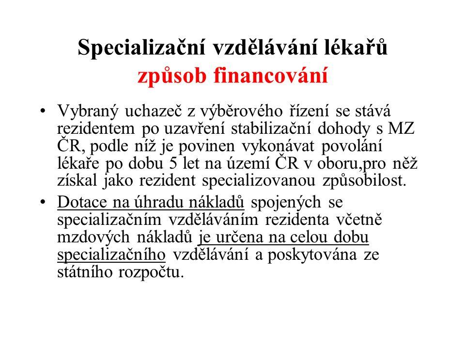 Specializační vzdělávání lékařů způsob financování Vybraný uchazeč z výběrového řízení se stává rezidentem po uzavření stabilizační dohody s MZ ČR, po