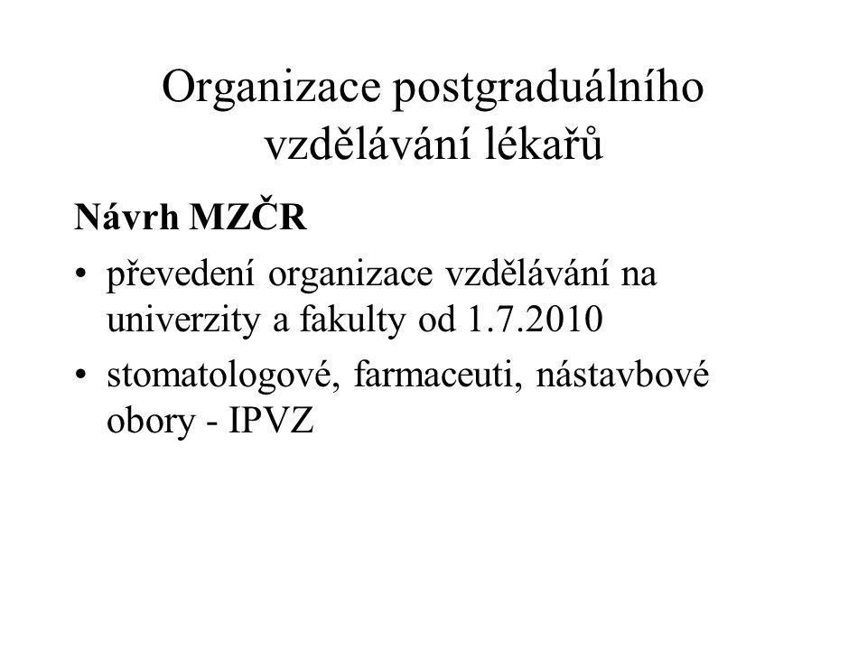 Organizace postgraduálního vzdělávání lékařů Návrh MZČR převedení organizace vzdělávání na univerzity a fakulty od 1.7.2010 stomatologové, farmaceuti,