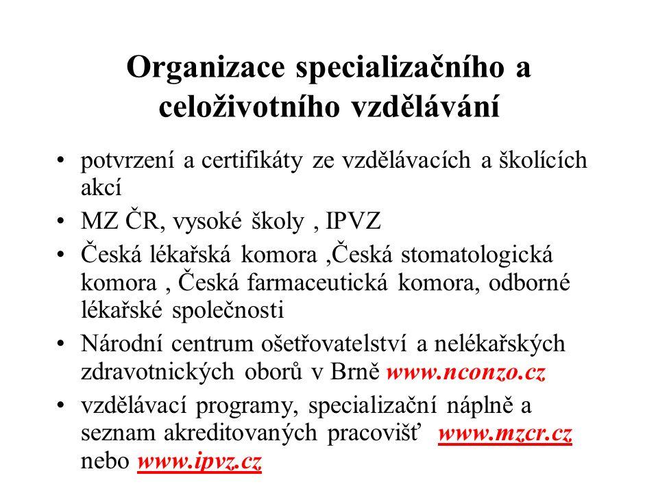 Organizace specializačního a celoživotního vzdělávání potvrzení a certifikáty ze vzdělávacích a školících akcí MZ ČR, vysoké školy, IPVZ Česká lékařsk