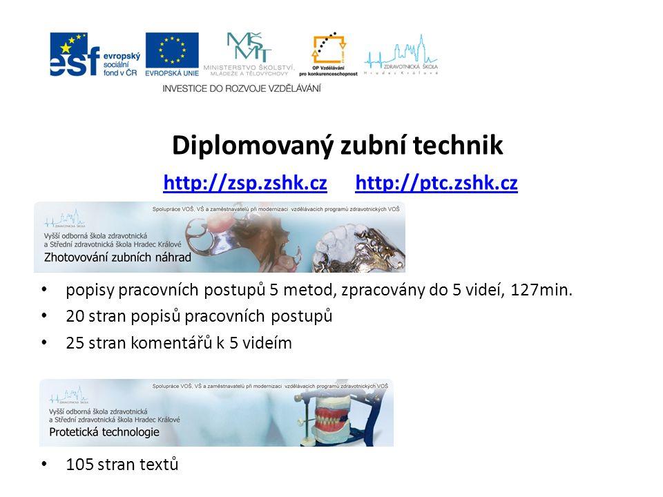 Diplomovaný zubní technik http://zsp.zshk.cz http://ptc.zshk.cz http://zsp.zshk.czhttp://ptc.zshk.cz popisy pracovních postupů 5 metod, zpracovány do 5 videí, 127min.