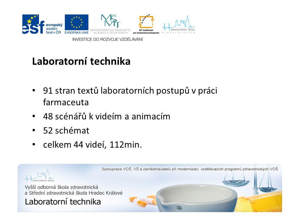 Laboratorní technika 91 stran textů laboratorních postupů v práci farmaceuta 48 scénářů k videím a animacím 52 schémat celkem 44 videí, 112min.